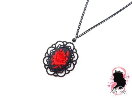 Gunmetal Black and Red Rose Necklace